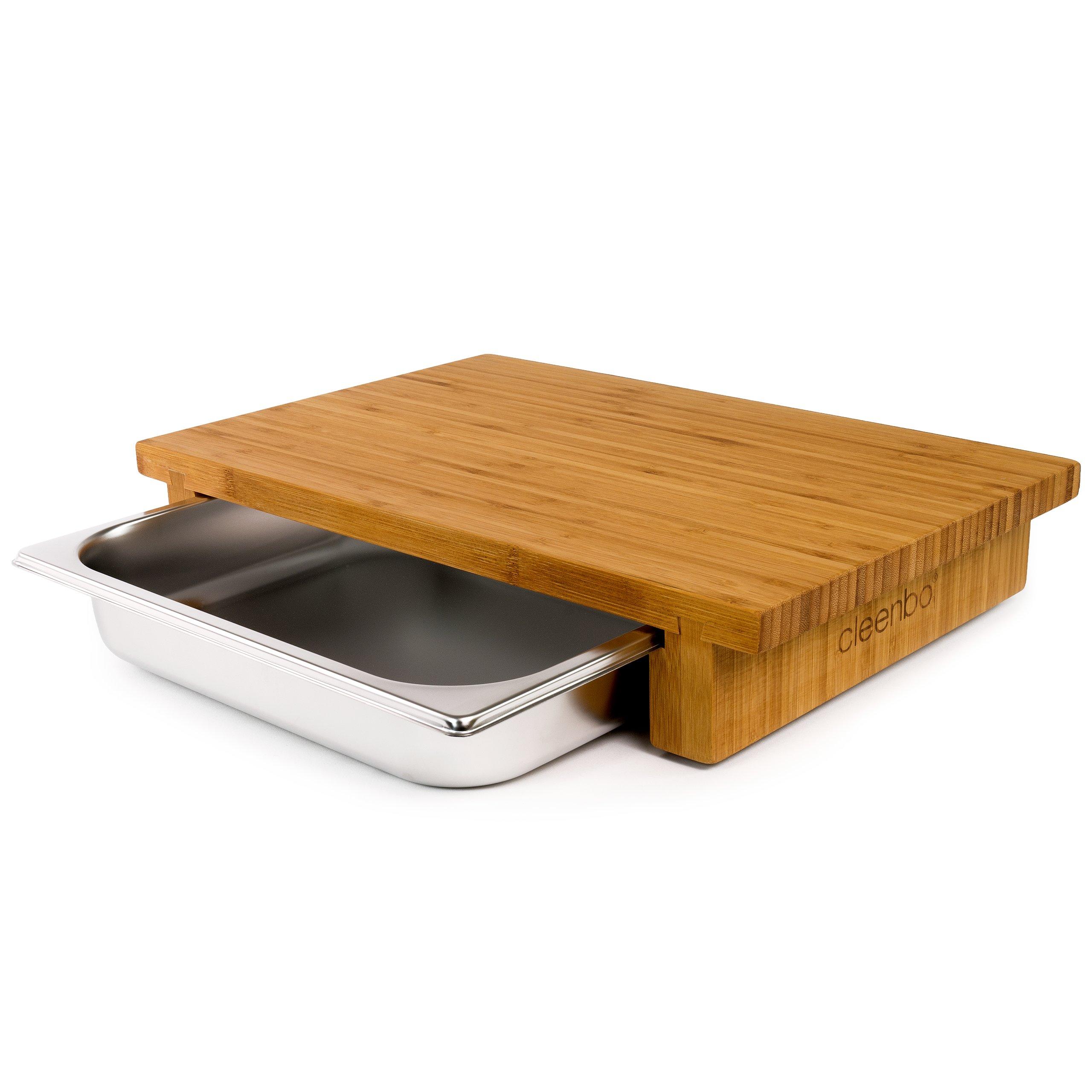 schneidebrett bambus mit edelstahlwanne 59 90. Black Bedroom Furniture Sets. Home Design Ideas