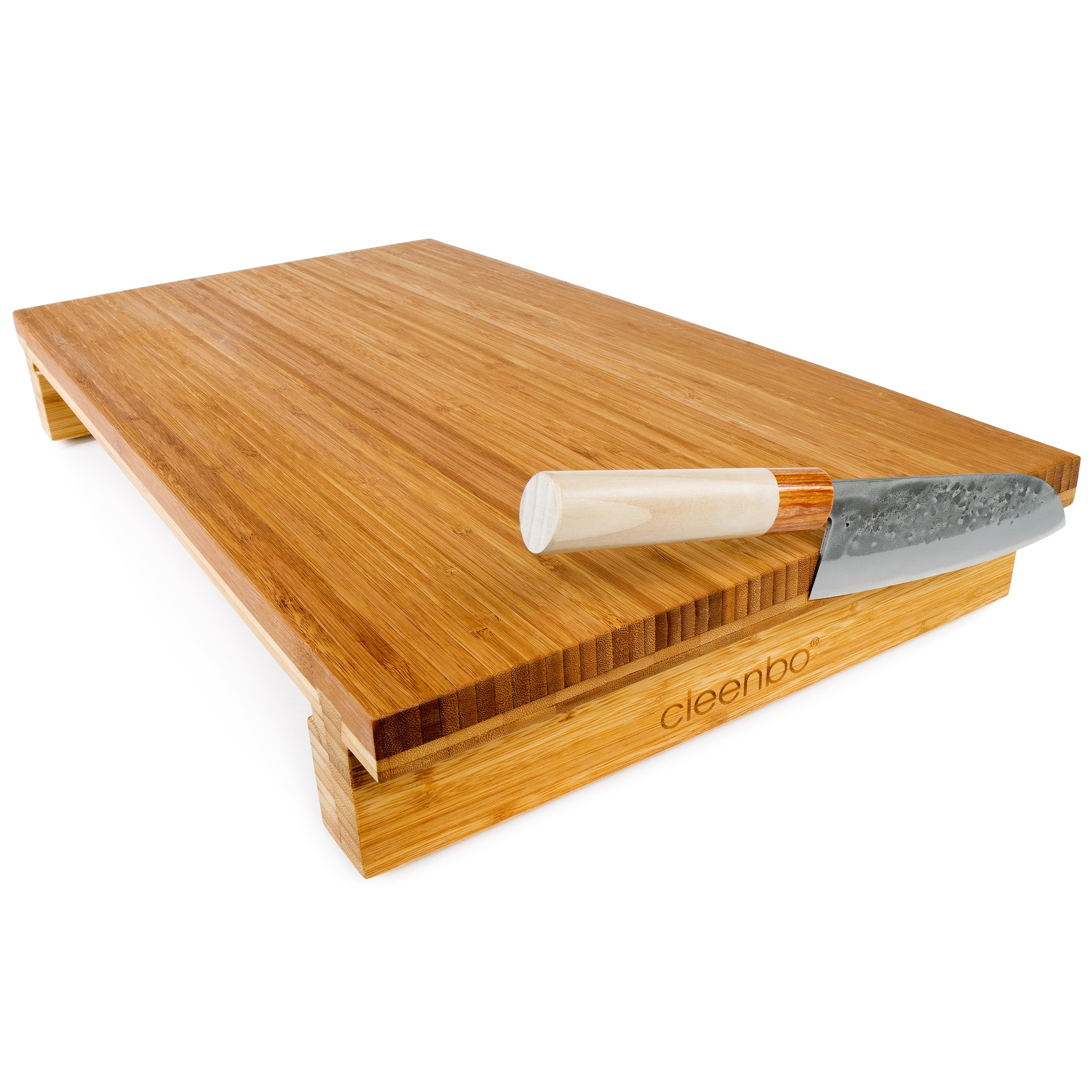 bambus schneidbrett in gro mit wanne und messermagnet 129 90. Black Bedroom Furniture Sets. Home Design Ideas