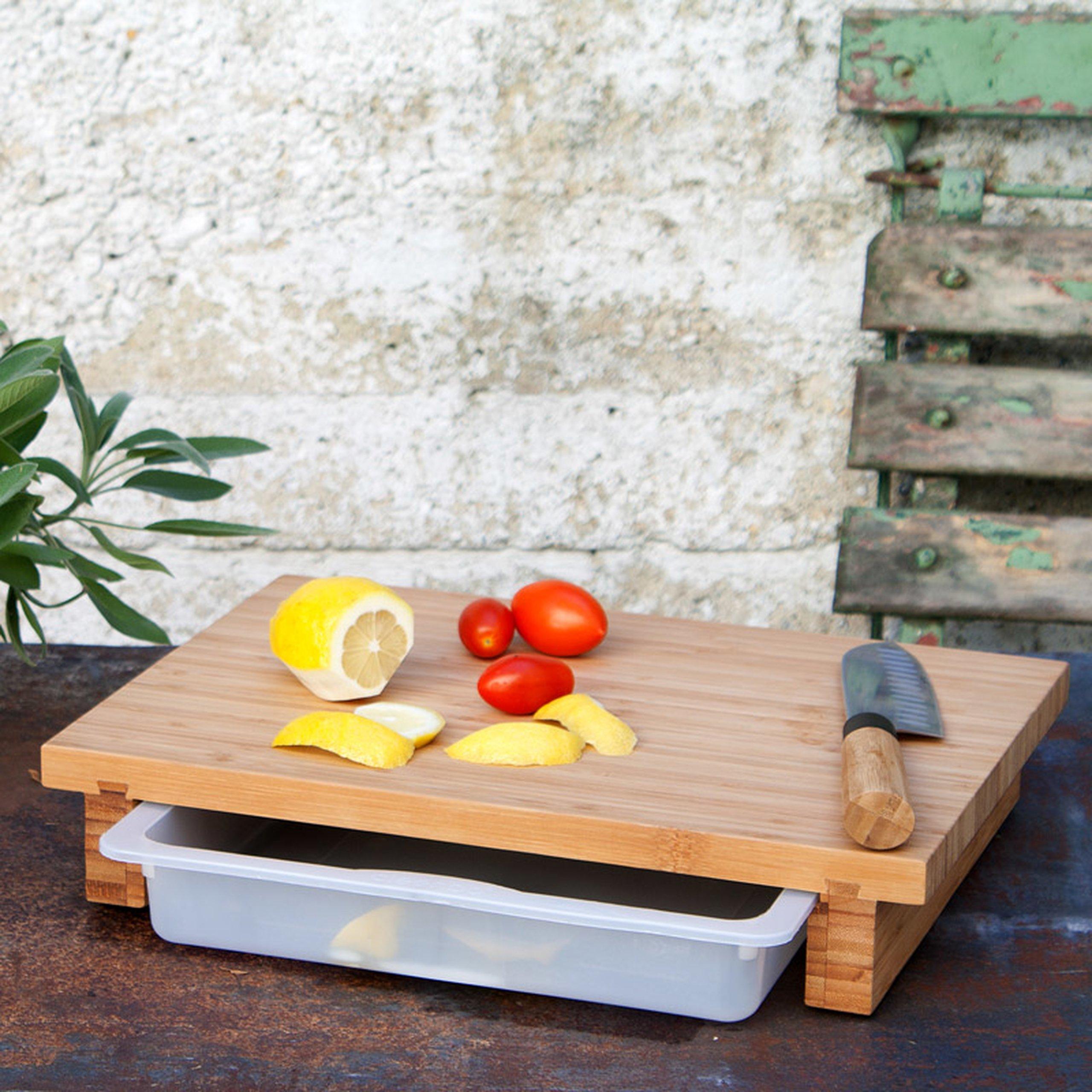 cleenbo bambus schneidebrett mit kunststoff auffangwanne 39 90. Black Bedroom Furniture Sets. Home Design Ideas